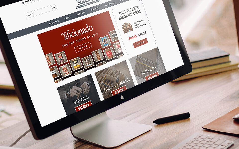 Tobacco Marketing Company Website Design for Atlantic Cigars on an Apple Desktop