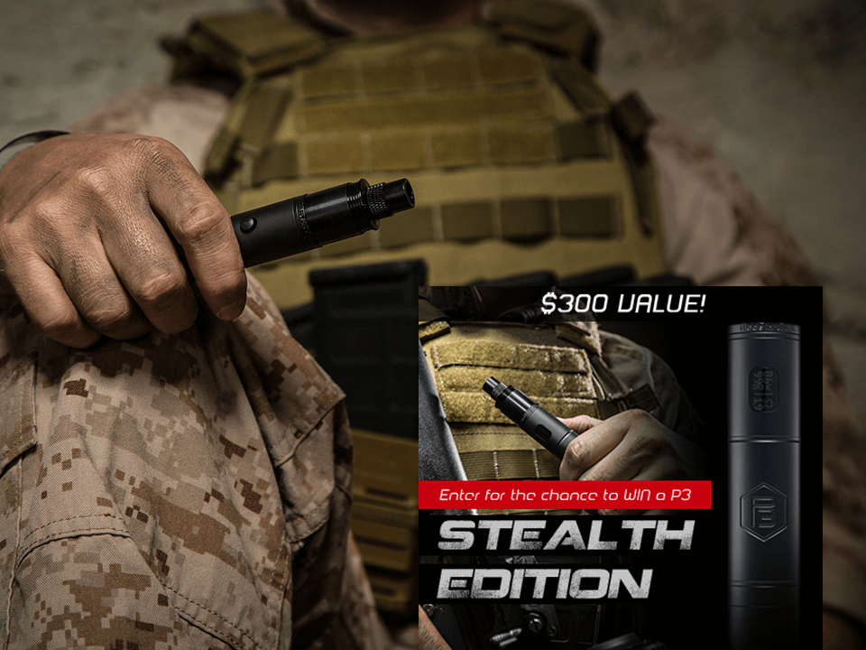 E-Cigarette Marketing Advertisement Showing Army Guy Holding A Vape with Promotional Tagline