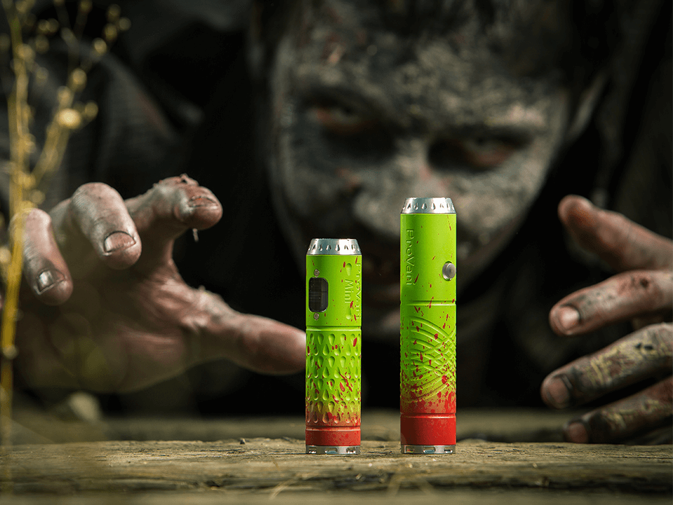 Vaping Company Advertising Campaign Showing Guy with Zombie Makeup Reaching for a Vaping Device