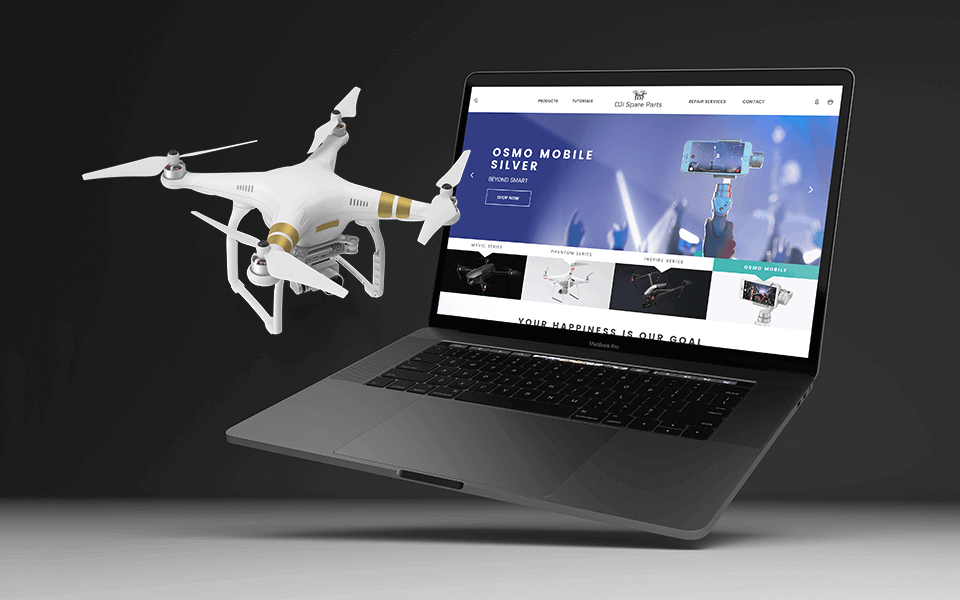 eCommerce Web Development Design Agency Graphic Showing 3D Drone and 3D Laptop