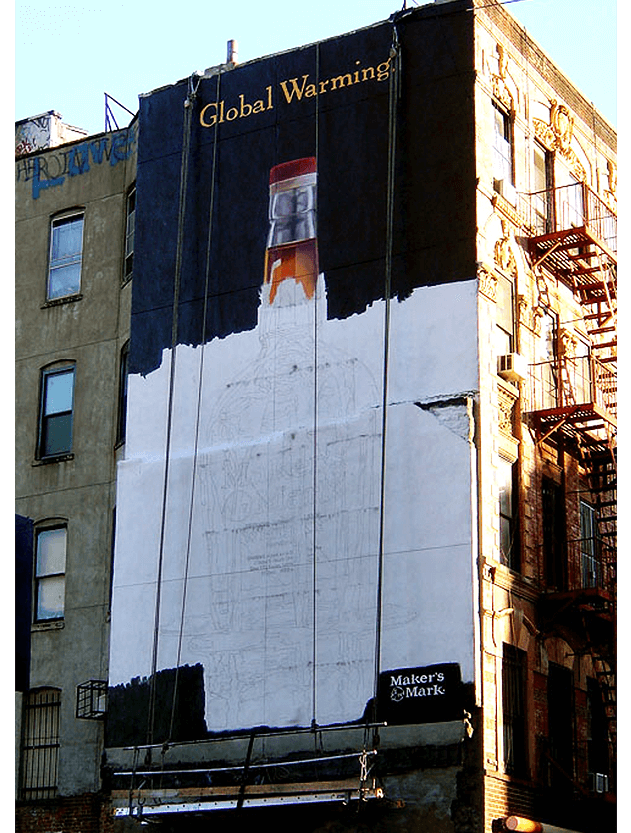 Media Buying Photo Of Building-Sized Mural Ad For Whisky