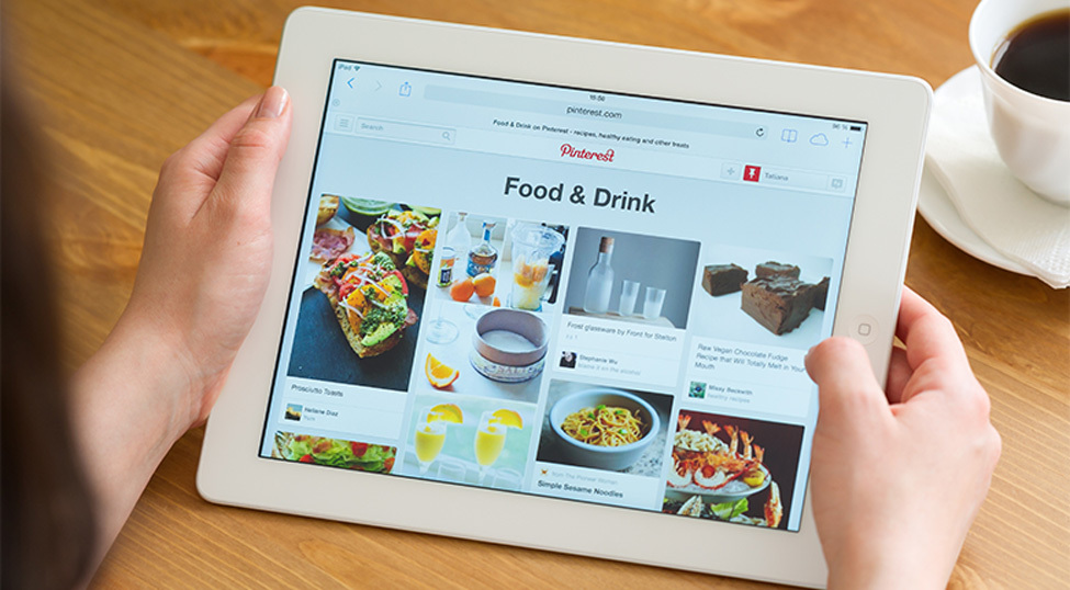 Pinterest Food Category On Tablet screen