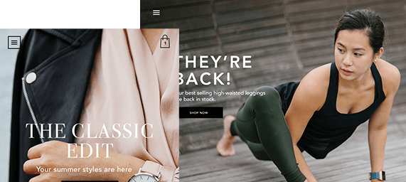 Shopify Website Example of Girl Doing Yoga, Selling Fashion Attire