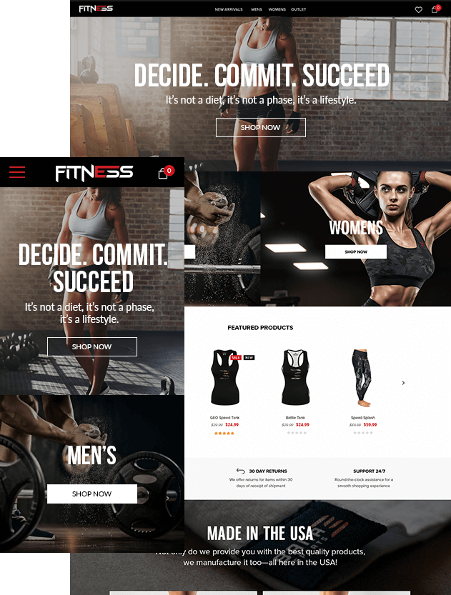 WordPress eCommerce Development Mockups For Fitness Company Website Showing Apparel