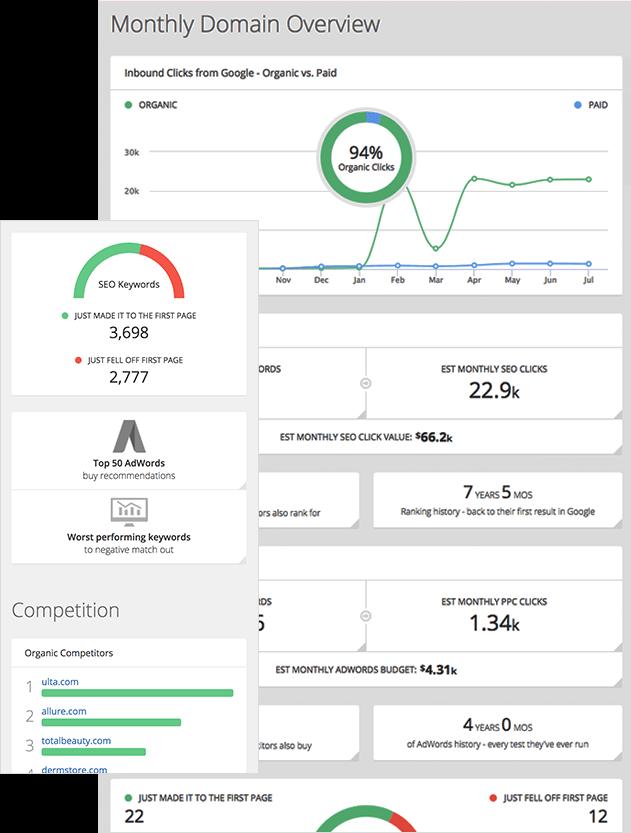 Screenshot Of eCommerce SEO Data And Chart